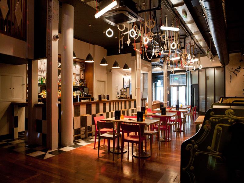 trapeze, bar, london, shred itch, interior, design, bespoke, furniture