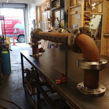 Bespoke contract furniture rusted industrial pipe 10 tap beer font