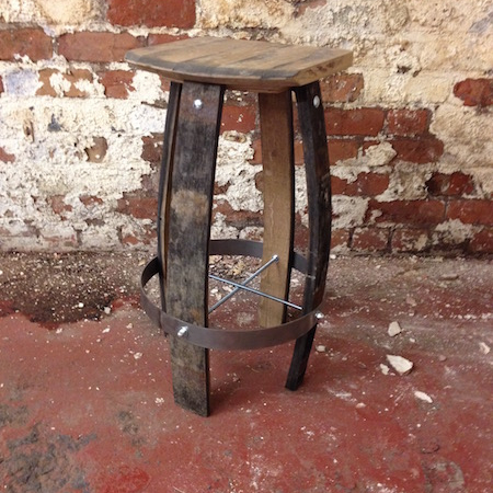 bespoke bar stool hand made from old oak whiskey barrels