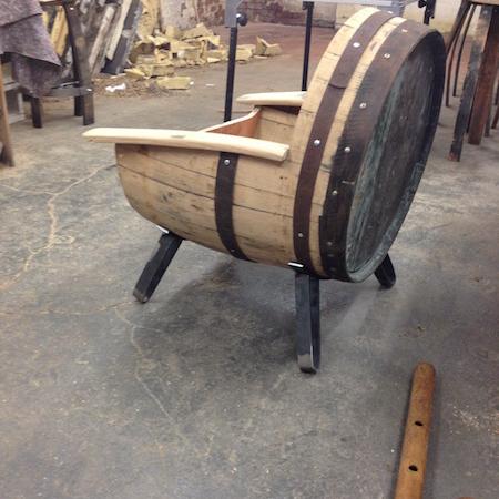 bespoke oak barrel tub chair